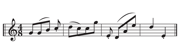 "The pattern of the rhyme scheme of Cummings' ""now i lay"" translated into music notation"