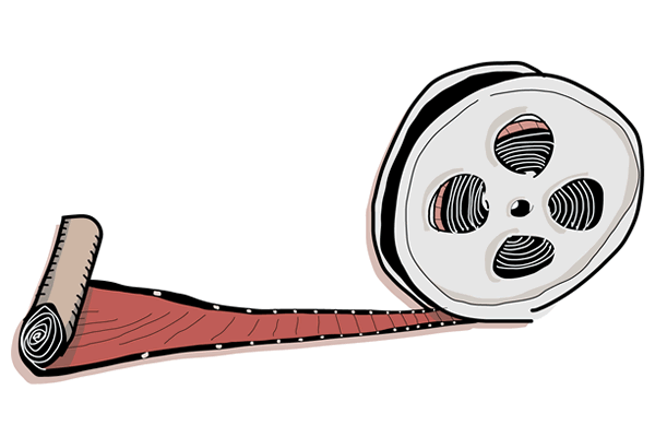 A scroll unrolling into a filmreel. Illustration ©2010 Maciek Jozefowicz