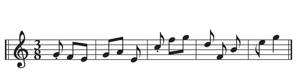 "The pattern of the rhyme scheme of Bishop's ""Sonnet"" translated into music notation"