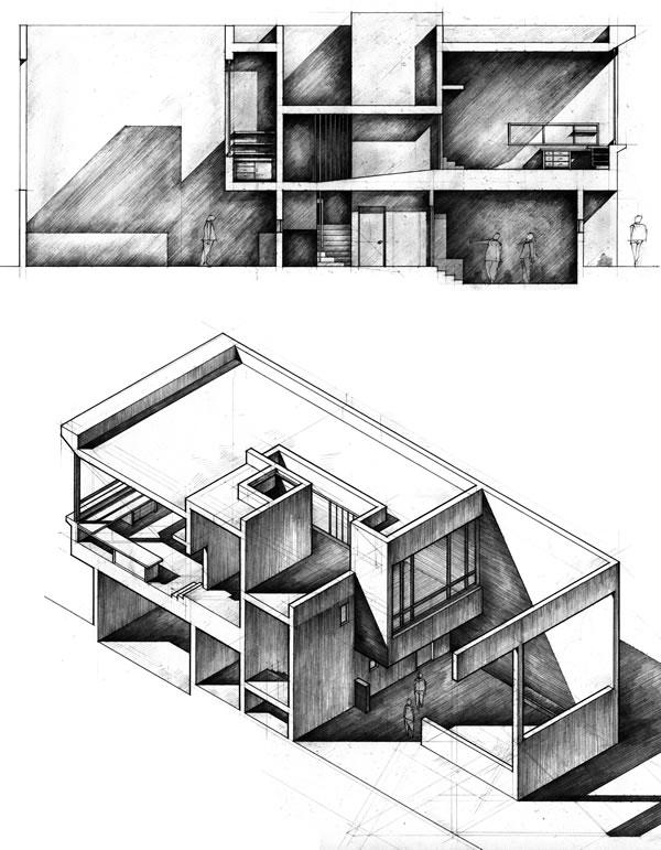 Sketchbook sample 0459 Drawings of a violin studio design
