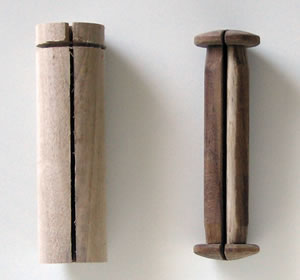 Before and after photo showing the original dowel and the finished scroll end