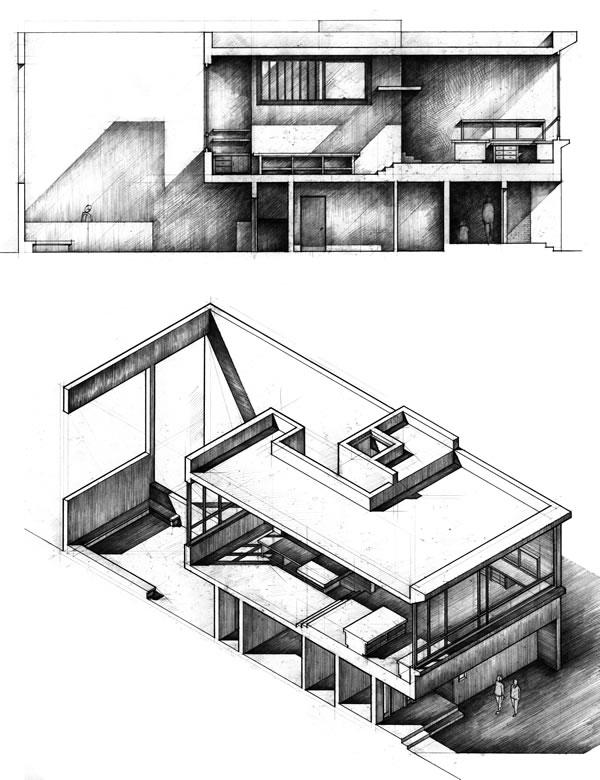 Sketchbook sample 0460 Drawings of a violin studio design