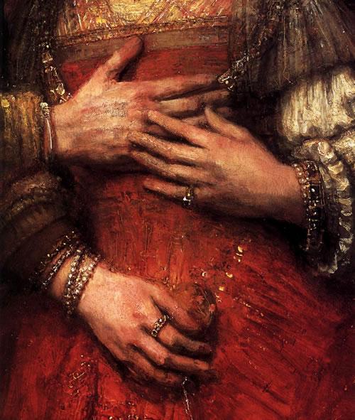 Rembrandt The Jewish Bride Detail 2