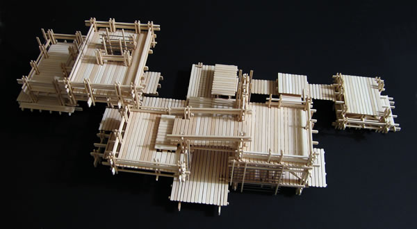Basswood model of a playground design. Aerial view