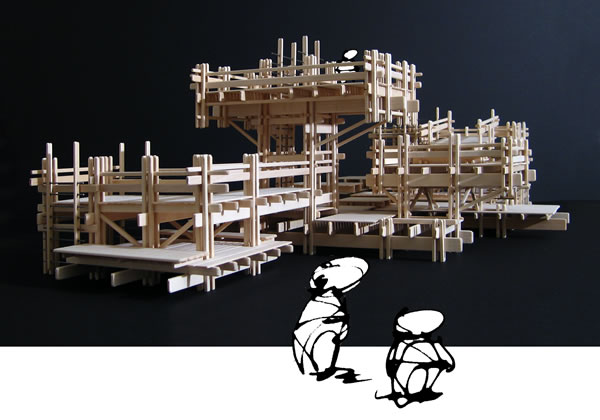 Basswood model of a playground design. View from eye level