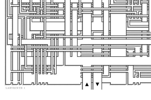 Labyrinth 1, detail of art print
