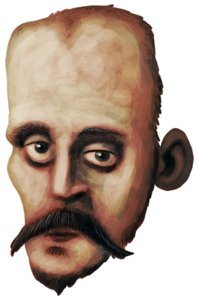 Montaigne, Michel de, caricature created by Maciek Jozefowicz. All rights reserved
