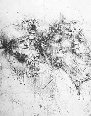 Leonardo da Vinci, GROUP OF FIVE GROTESQUE HEADS