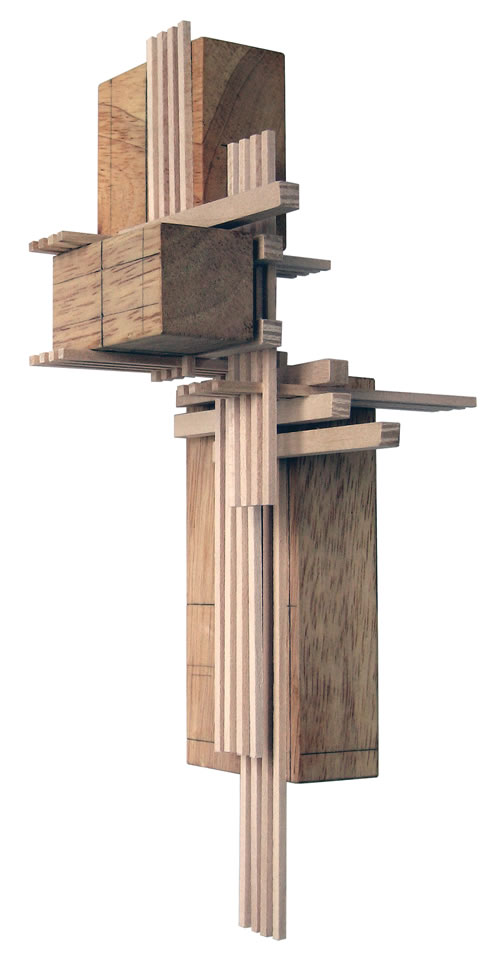 Construction 4, wood sculpture inspired by architectural models