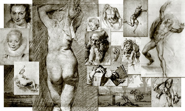 A digital collage created from the drawing by Durer, Michelangelo, Rubens and Rembrandt