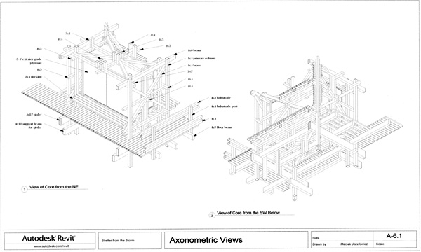 Shelter from the Storm, axonometric views of teh storage structural core