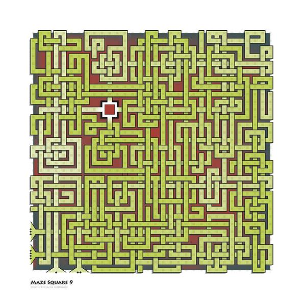 Art print, Maze Square 9, color version