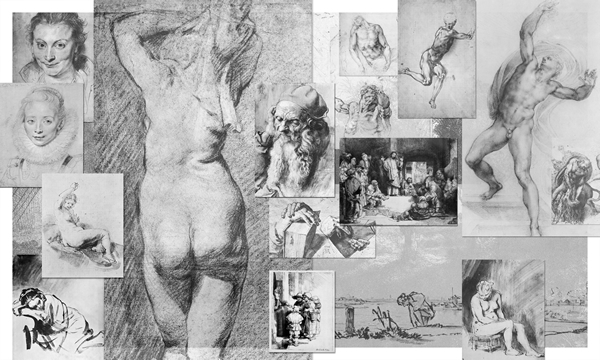 Collage of master drawings of Durer, Michelangelo, Rembrandt, and Rubens