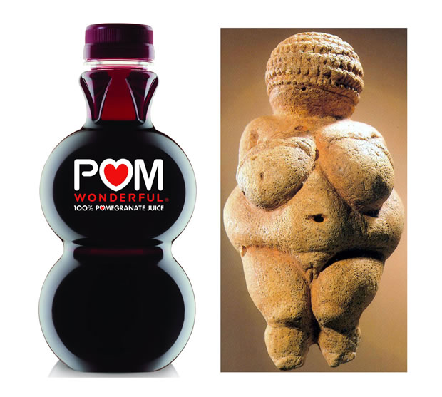 Comparison between POM Wonderful bottle and the Willendorf Venus
