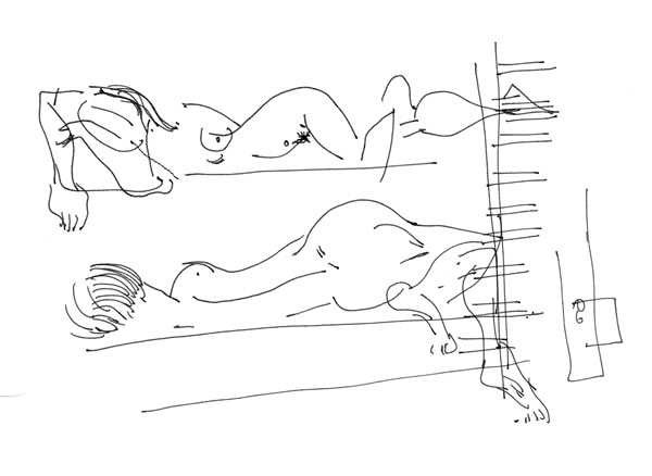 Reclining Nudes On Bunk Beds (13), pen drawing by Maciek Jozefowicz