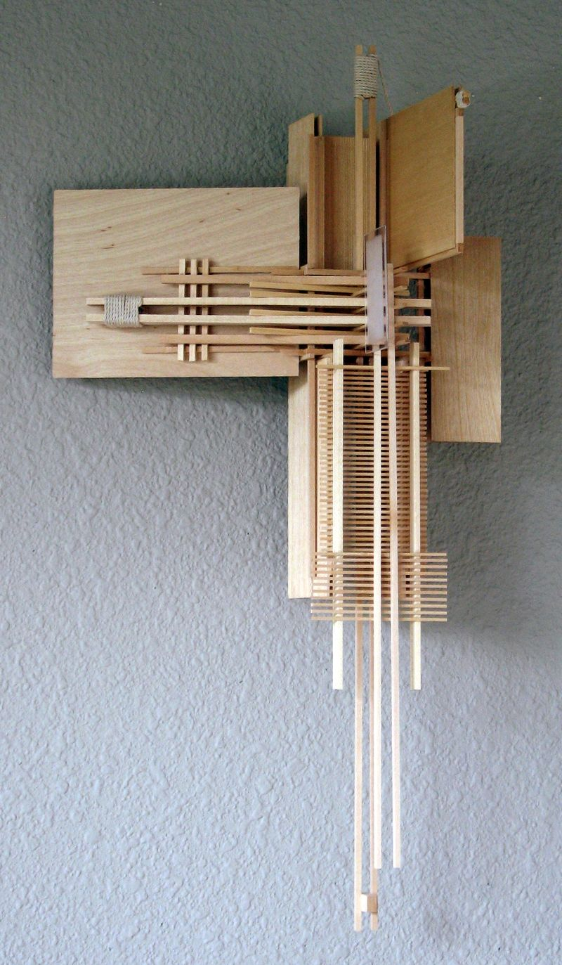 Construction 6, Icarus Repaired. A wall sculpture made from various pieces of basswood