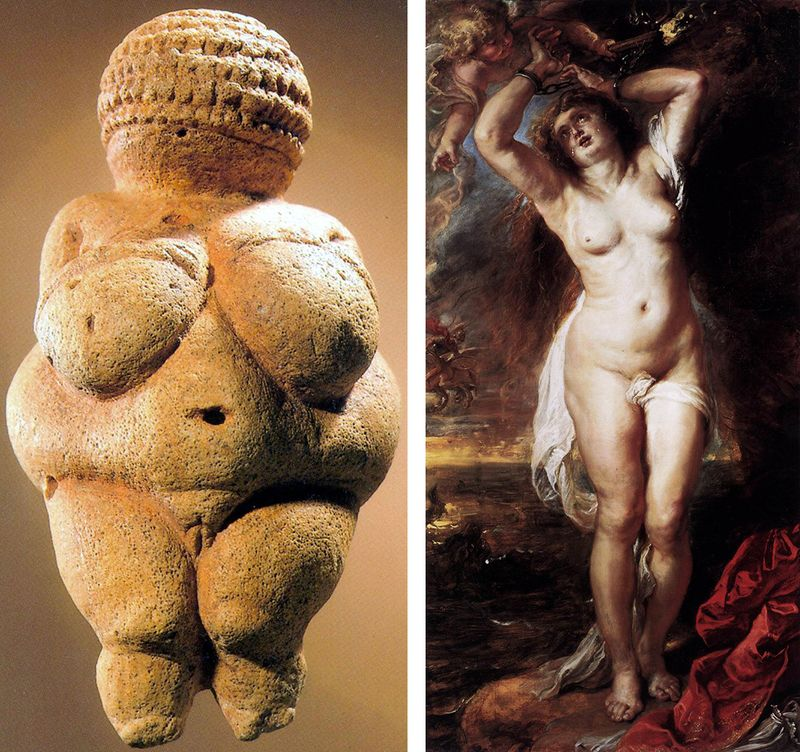 VENUS OF WILLENDORF by a prehistoric, unknown artist and ANDROMEDA by P.P. Rubens