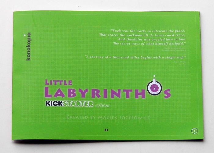 Maze puzzle game booklet, Kickstarter Edition Little Labyrinthos