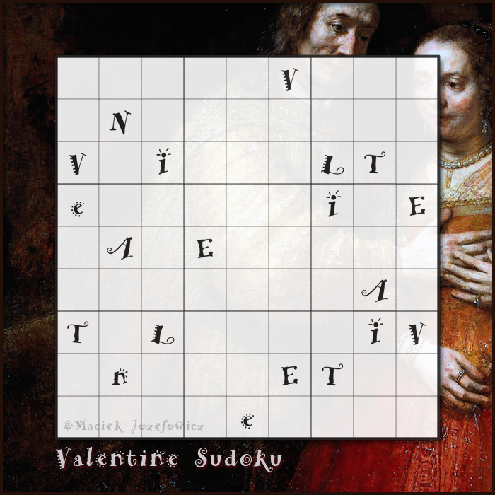 Valentine's Day Valentine Sudoku puzzle, an isogram sudoku
